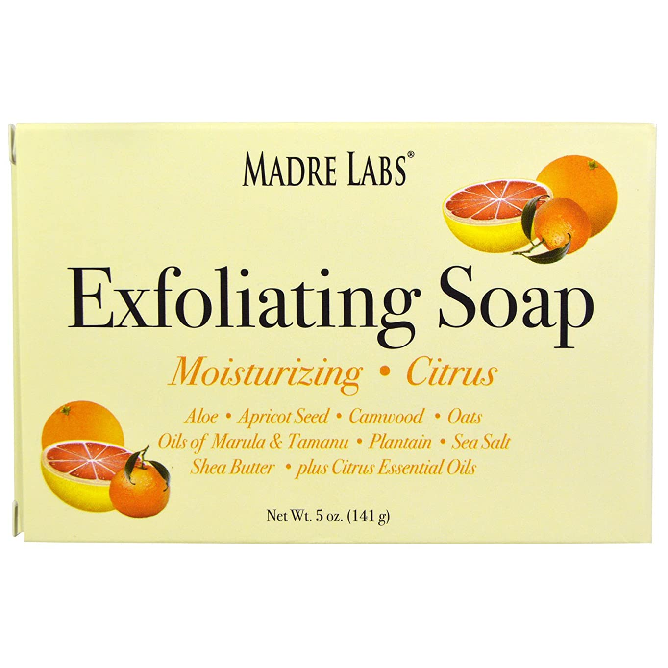 そっと寸法セクションマドレラブ シアバター入り石鹸 柑橘フレーバー Madre Labs Exfoliating Soap Bar with Marula & Tamanu Oils plus Shea Butter
