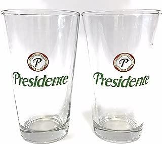 Presidente Beer - 16 Ounce Pint Glass - Set of 2
