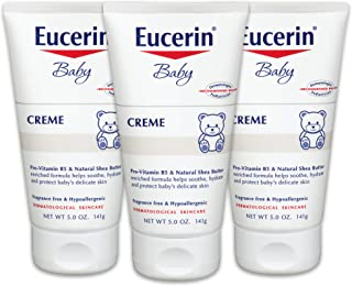 Eucerin Baby Cream - Pack of 3, Hypoallergenic & Fragrance Free, Gentle Every Day Lotion for Sensitive Skin - 5 oz.