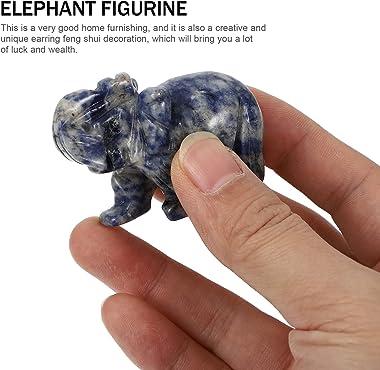 BESPORTBLE Natural Jade Crystal Elephant Statue Handcarved Stone Aniaml Figurrine Pocket Healing Crystal Animal Sculpture Cak