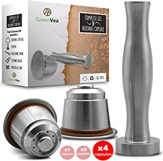 Greenvea - Complete Set of refillable and Reusable Nesspresso Coffee Capsules. Refillable Stainless Steel Coffee and Tea Capsules. (Capsule, Tamper, Guide, Dosage Spoon & Brush) -DIY- (4)