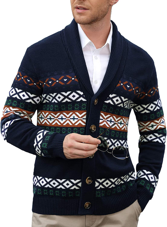 PJ PAUL JONES Men's Knitted Cardigan Sweaters Shawl Lapel Cable Fair Isle Pattern Sweater