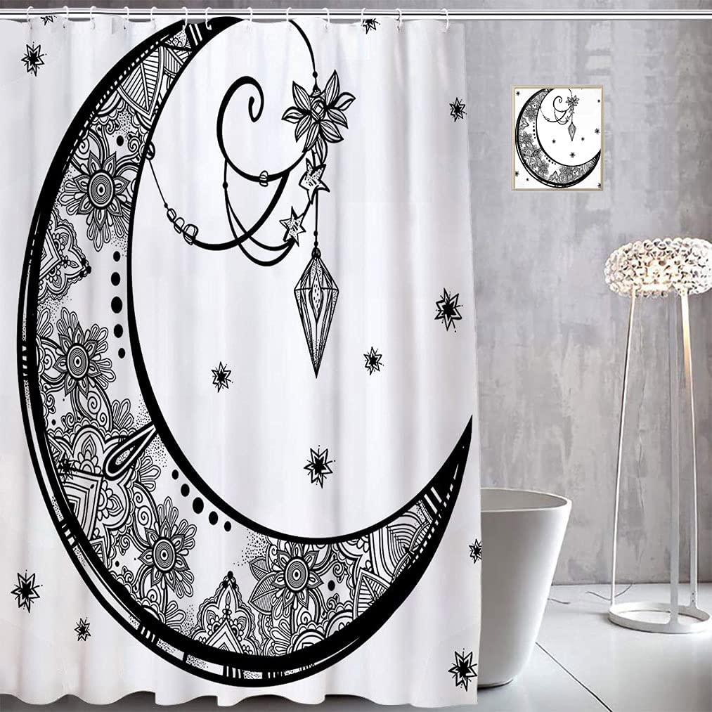 Vintage Decor Stall Shower Translated Curtain Moon Floral Paisley Crescent Quantity limited