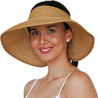 قبعة واقية من الشمس من جيرتوب، أقنعة من القش على شكل ذيل حصان للنساء - قبعات بحافة عريضة قابلة للطي