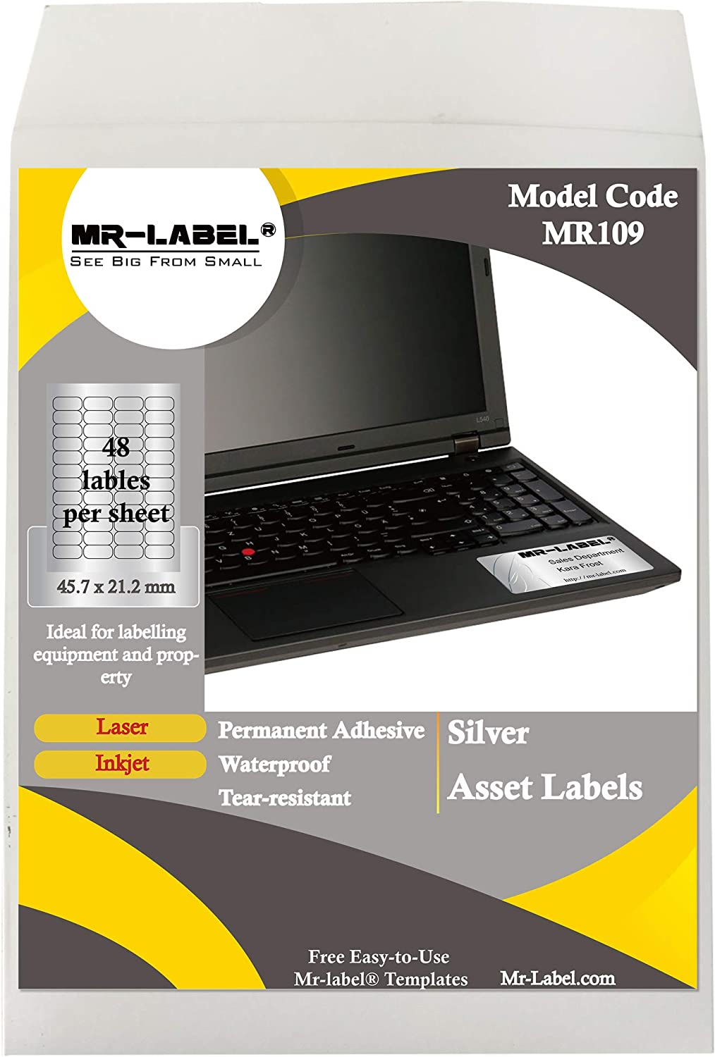for Inkjet /& Laser Printer Self-Adhesive Heavy Duty Labels Weatherproof and Tear-Resistant Mr-Label 45.7 x 21.2 mm Silver Asset Stickers 1200 Labels