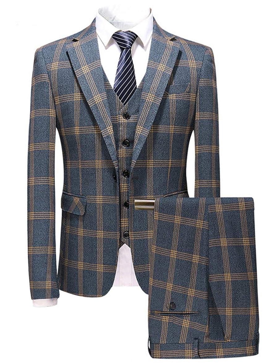 不可能な延期する尋ねるP&G メンズチェック柄3ピーススーツストライプフォーマルな結婚式ビジネスクラシックヴィンテージタキシード