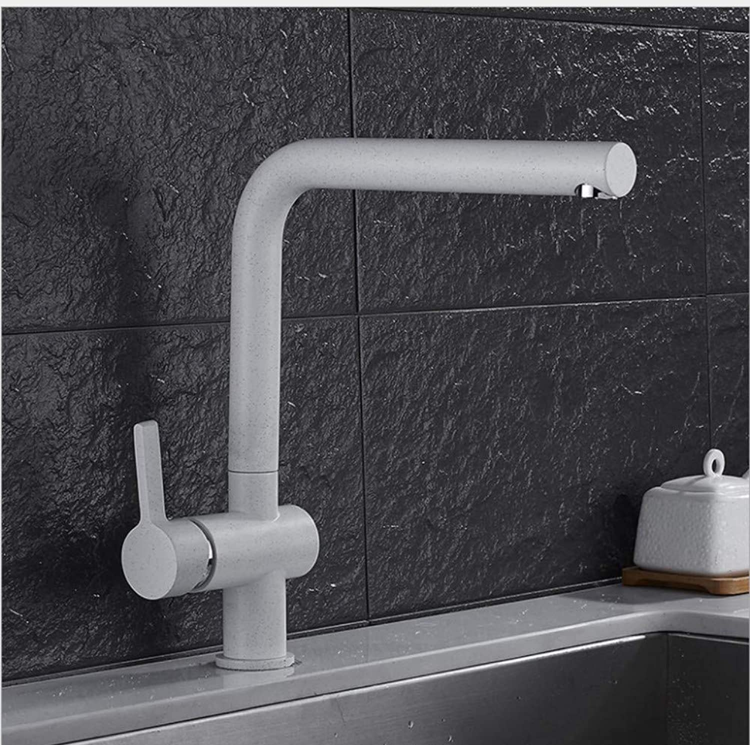 Bathroom Sink Basin Lever Mixer Tap White Belt Point Kitchen Mixing Faucet redary Tank Washing Pot Cold and Hot Water Faucet