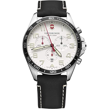 Victorinox Men's Stainless Steel Swiss Quartz Watch with Leather Strap, Black, 21 (Model: 241853)