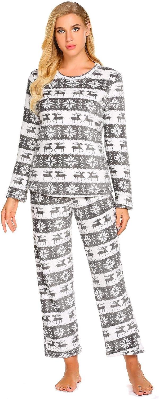 goldenfox Flannel Santa Pajama Set Women's Cotton Fleece Christmas Sleepwear SXXL