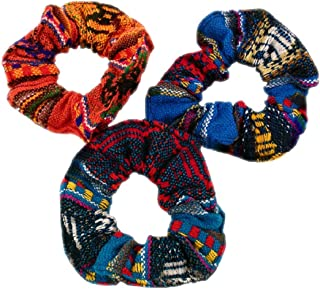 6 Scrunchies Hair Tie Pony Tail Six Pack Assorted Peru Cotton Fair Trade Lot Wholesale 255