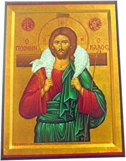 JWG Industries Jesus Christ The Good Shepherd Orthodox Wooden Byzantine Icon