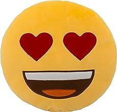 وسادة عيون على شكل قلب من ايموجي - أصفر، 33 سم