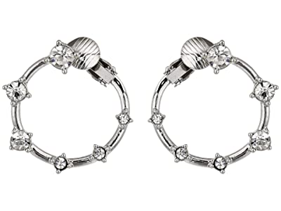 Vince Camuto Wraparound Stone Clip Hoop Earrings (Rhodium/Crystal) Earring