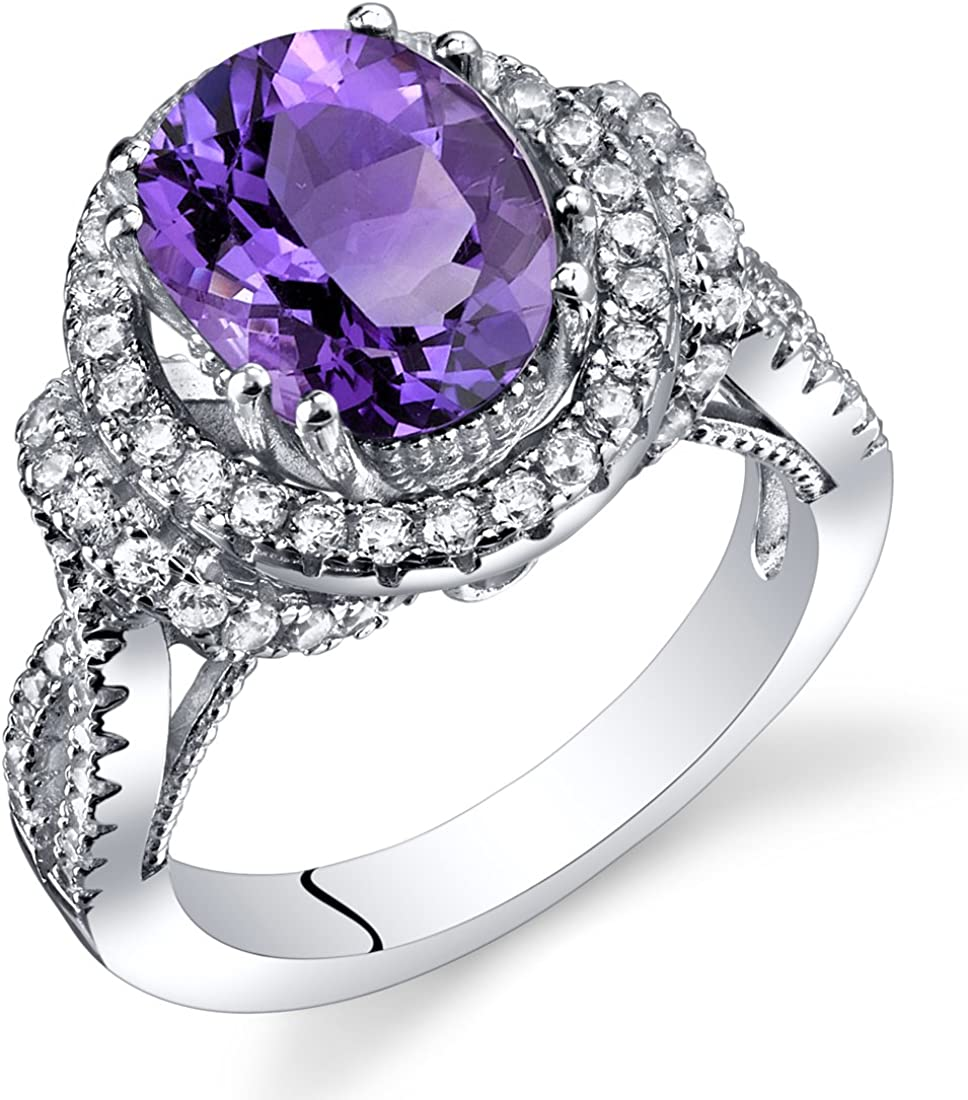 Amethyst Cheap mail order 2021 spring and summer new sales Gallery Ring Sterling Silver Carats Siz 2.25 Oval Shape