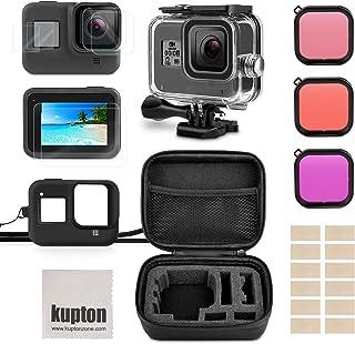 Kupton Kit de Accesorios para GoPro Hero 8 Incluye Carcasa Impermeable +Protector de Pantalla de Vidrio Templado +Estuche de Transporte +Funda de Silicona +Inserciones Antiniebla para Go Pro Hero8