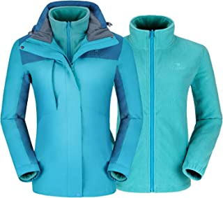 CAMELSPORTS Women's Ski Jacket for Winter 3 in 1 Waterproof Windproof Snow Hooded Jacket with Warm Fleece Liner Jacket - Blue - Small