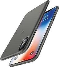 EasyAcc Custodia per iPhone X (Non per iPhone XS), Ultra Sottile Solo 0,45 mm PP Anti Graffio Case Anti Impronte Protettiva e Leggera Cover Compatibile con iPhone X - Nero Semitrasparente