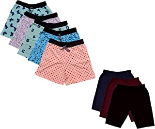IndiWeaves Women's Combo Pack of Cotton Printed Shorts and Cycling Shorts (Pack of 8)