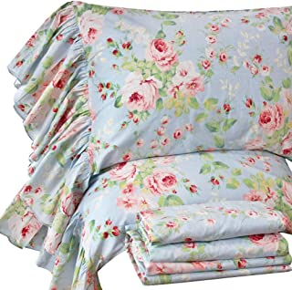 Queen's House French Country Floral Bed Sheet Sets Ruffle Cotton Deep Pocket Set Queen Size-Style O
