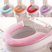 Adtala Toilet Lid Soft & Comfy Flannel Toilet Lid & Tank Cover Toilet Seat Cushion Toilet Mat Pad Bathroom Warmer