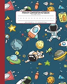 Primary Composition Notebook Story Paper Journal: Dashed Midline And Picture Space School Exercise Book   120 Story Pages   Red - Astronaut (Outer Space Astronomy Series)