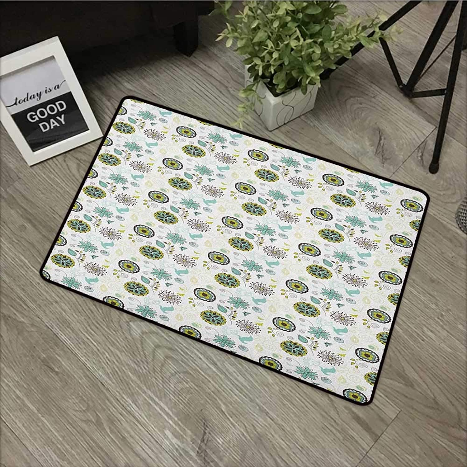 Clear Printed Pattern Door mat W35 x L59 INCH Floral,Bird and Butterfly Silhouettes with Flourishing Petals and Leaves Doodle, Apple Green Brown Teal Easy to Clean, no Deformation, no Fading Non-Slip