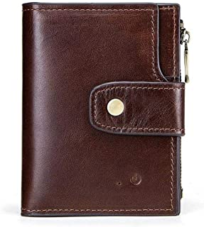 Mens Leather Bag Men's Wallet RFID Leather Smart Bluetooth Anti-Lost Anti-Theft Multi-Function Coin Purse Mobile Phone Bag Bag (Color : Brown, Size : S)