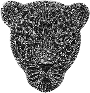 Assorted Size Iron On Embroidered Motif Applique Glitter Sequin Decoration Patches DIY Sew on Patch Perfect for Jeans Clothing(Black Leopard)