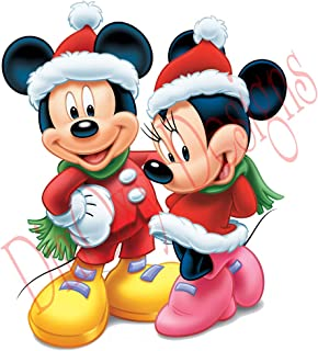 One Stop Decals Disney Mickey and Minnie Wearing Santa's Costumes (V2). Christmas and Holidays Static Cling Decoration for Windows, Mirrors or Polished Metal Surfaces. (12