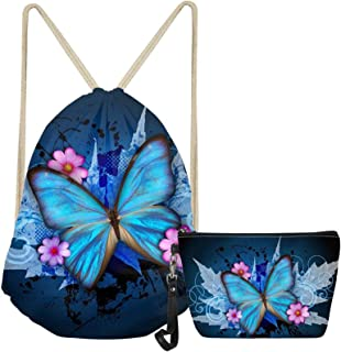 ZFRXIGN Chic Butterfly Drawstring Backpack for Girls Women Laundry Bags Heavy Duty Waterproof Makeup Bag Soft Leather Trav...