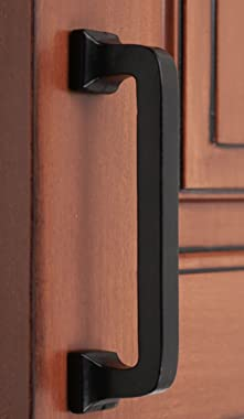 """Iron Valley - 4"""" C2C Square Contemporary Cabinet Handle Pull - Black - Solid Cast Iron (10 Pack)"""