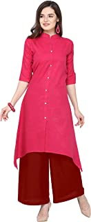 Florence Pink Slub Cotton Embellished Stitched Kurtis with Palazzo(FL-KT-129-PZ-04)