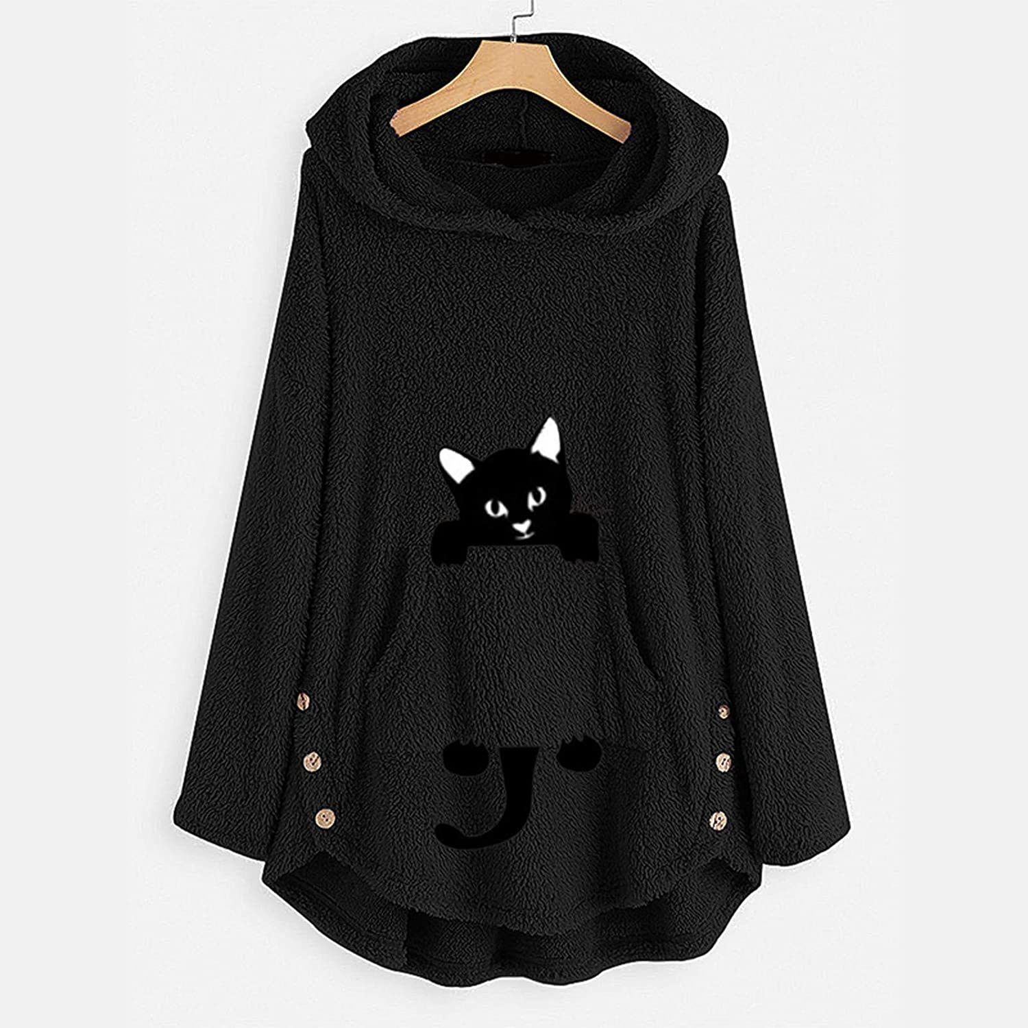 Womens Pullover Fleece Hoodie with Pockets Thermal Solid Sweater