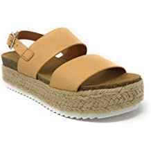 5fcb7b2f531a Womens Casual Espadrilles Trim Rubber Sole Flatform Studded Wedge Buckle  Ankle Strap Open Toe Sandals