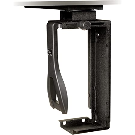 """3M Under-Desk Computer Tower CPU Holder, Width Adjust from 3.5"""" to 9.3"""", Height Adjust from 12.5"""" to 22.5"""" to Fit Most CPU's up to 50 lbs, 360⁰ Swivel, Steel Construction, 17"""" Track, Black, (CS200MB)"""