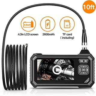 Industrial Endoscope,Handhold Industrial Borescope Camera with 4.3-inch Color LCD Screen,5mm Diameter Waterproof Snake Tube Camera with 6 LED Lights (10FT 5.5mm Camera)
