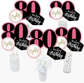Chic 80th Birthday - Pink, Black and Gold - Birthday Party Centerpiece Sticks - Table Toppers - Set of 15
