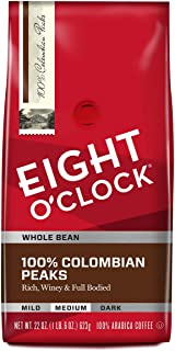 Eight O'Clock Whole Bean Coffee, 100% Colombian Peaks, 22 Ounce (Pack of 1)