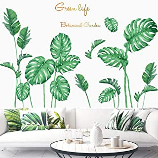 Poorminer Tropical Plants Green Plants Fresh Leaves Peel Stick Wall Stickers Decals Art Murals Paper for Kids Baby Bedroom...
