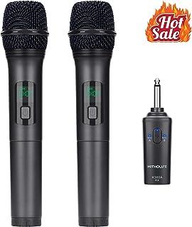 میکروفون بی سیم Kithouse K380A میکروفون بلوتوث کارائوکه بی سیم با سیستم گیرنده قابل شارژ - مجموعه میکرو پویا دستی UHF دوگانه برای کلیسای گفتار آواز کارائوکه (مشکی زیبا)