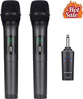 Kithouse K380A Wireless Microphone Karaoke Microphone Wireless Mic Dual With Rechargeable Bluetooth Receiver System Set - UHF Handheld Cordless Microphone For Singing Speech Church(Elegant Black)