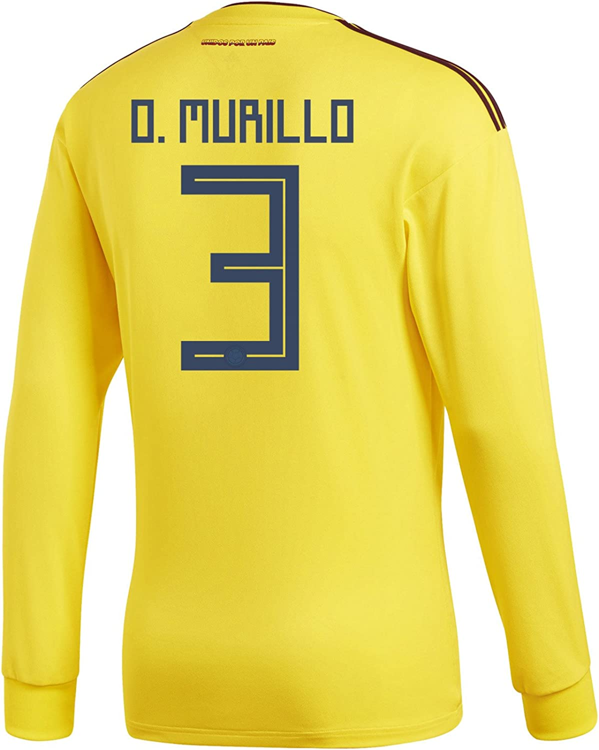 Adidas O. Murillo  3 Colombia Home Men's Long Sleeve Soccer Jersey World Cup 2018