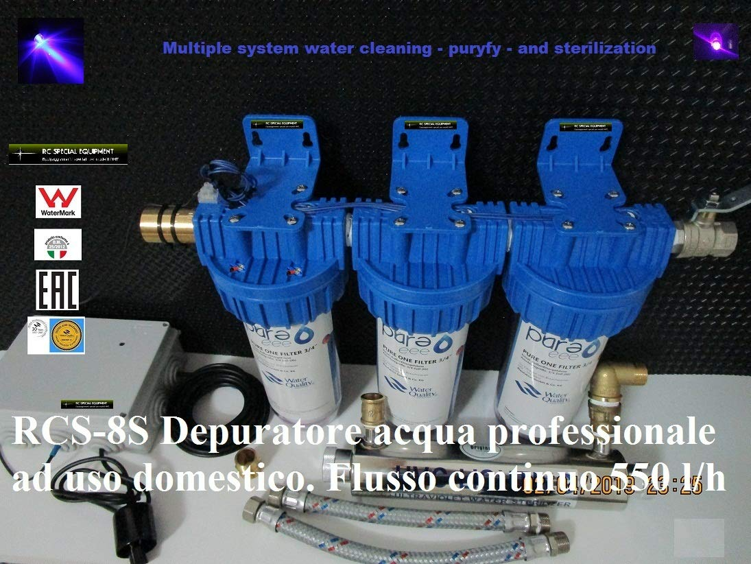 Genérico RCS-8S. Depurador de agua profesional. Flujo continuo 550 litros/hora. (Tratamiento de agua para el hogar).: Amazon.es: Hogar