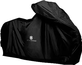 Active Winner バイクカバー 丈夫な厚手生地 撥水 UVカット 風飛び防止 鍵穴付 (LLサイズ, BLACK (黒))