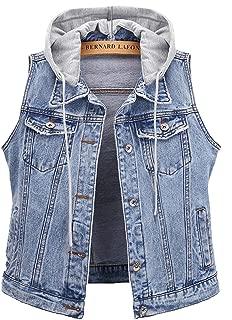 Women's Jean Vest Distressed Classic Cropped Sleeveless Denim Jacket