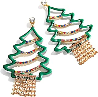 Christmas Earrings for Women Christmas Tree Statement Drop Earring Xmas Dangle Earrings for Women Christmas Holiday Party Jewelry Decorations