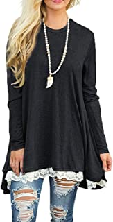 Women's Tops Long Sleeve Lace Scoop Neck A-line Tunic Blouse