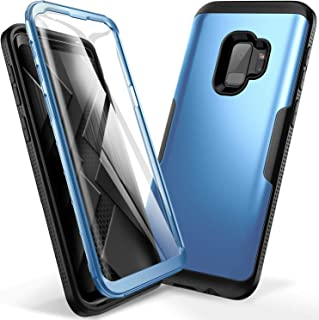YOUMAKER Galaxy S9 Case, Metallic Blue with Built-in Screen Protector Heavy Duty Protection Shockproof Slim Fit Full Body Case Cover for Samsung Galaxy S9 5.8 inch (2018) - Blue/Black