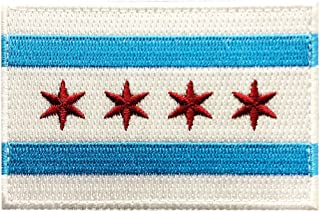 Chicago City Flag Embroidered Hook Fastener Patch[3.0 X 2.0 - CH9]
