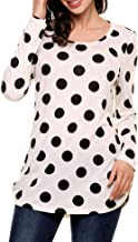 SoTeer Women's Polka Dot Long Sleeve Crew Neck Tops Shirt Blouses Casual Loose Tunic Tops